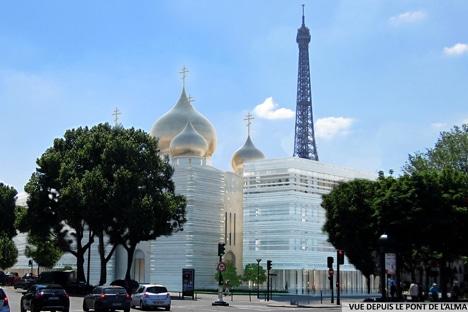 Pose de la première pierre du centre culturel et orthodoxe russe à Paris (quai Branly)