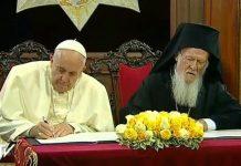 Le texte de la déclaration commune du patriarche Bartholomée et du pape François signée aujourd'hui