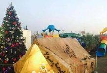 Dans l'une des tentes du camp de réfugiés au Kurdistan, les chrétiens irakiens ont installé une crèche