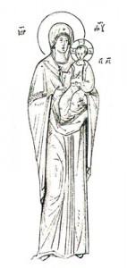 Dessin de Léonide Ouspensky pour une icône de la Mère de Dieu