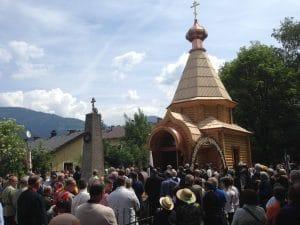 Consécration d'une chapelle à Lienz (Autriche) à la mémoire des Cosaques livrés au pouvoir soviétique par les autorités britanniques en 1945