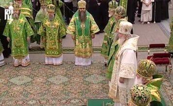 Liturgie célébrée par le patriarche de Moscou Cyrille au monastère de Diveevo à l'occasion de la fête de saint Séraphin de Sarov