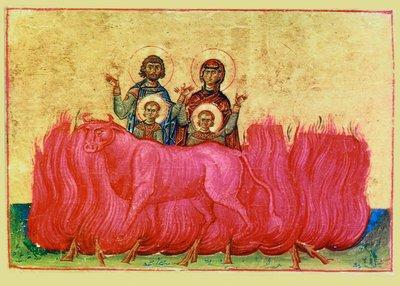 Saint Eustathe-Placide (Eustache), grand-martyr à Rome, avec son épouse, sainte Théopistée et leurs fils Agapios et Théopiste (vers 118)