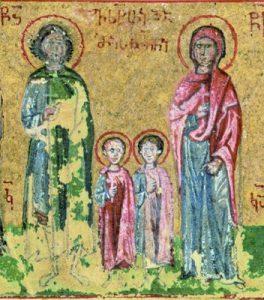 Saint Eustathe-Placide (Eustache), grand-martyr à Rome, avec son épouse, sainte Théopistée et leurs fils Agapios et Théopiste (vers 118) ; miniature d'un manuscrit greco-géorgienne, XVe s.