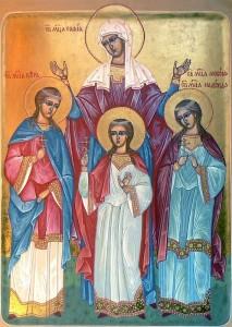 saintes martyres Pistis (Foi), Elpis (Espérance), Agapée (Charité) et leur mère Sophie (vers 137)
