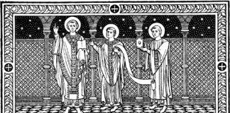 Saints hiéromartyrs Denys l'Aréopagite, évêque d'Athènes, Rustique, prêtre, et Éleuthère, diacre (96)
