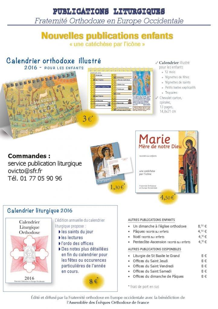 Le Calendrier liturgique 2016 et d'autres publications