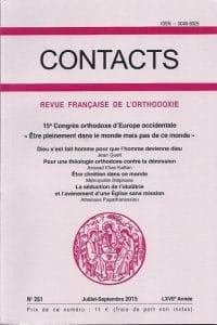 Un volume de Contacts dédié au Actes du 15e Congrès orthodoxe d'Europe occidentale