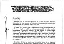 La lettre de condoléances adressée par le patriarche oecuménique Bartholomée au roi des Belges