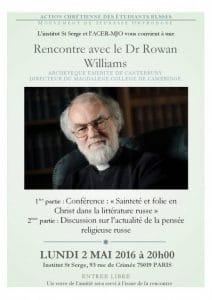 Une rencontre avec le Dr Rowan Williams à l'Institut Saint-Serge le 2 mai