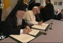 Déclaration conjointe du pape  François, du patriarche Bartholomée et de l'archevêque Jérôme sur l'île de Lesbos aujourd'hui