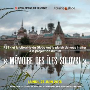 Projection du film « Mémoire des îles Solovki » à la librairie du Globe à Paris