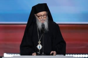 Greek Orthodox Archbishop Demetrios delivers the benediction during the third day of the Republican National Convention in Cleveland, Wednesday, July 20, 2016. (AP Photo/J. Scott Applewhite)