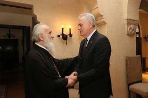 Rencontre du président Tomislav Nikolić et du patriarche de Serbie Irénée à Belgrade