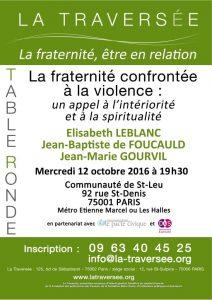 «La fraternité confrontée à la violence: un appel à l'intériorité et à la spiritualité»