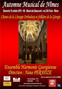 Un concert de l'ensemble «Harmonie géorgienne» le 16 octobre à Nîmes