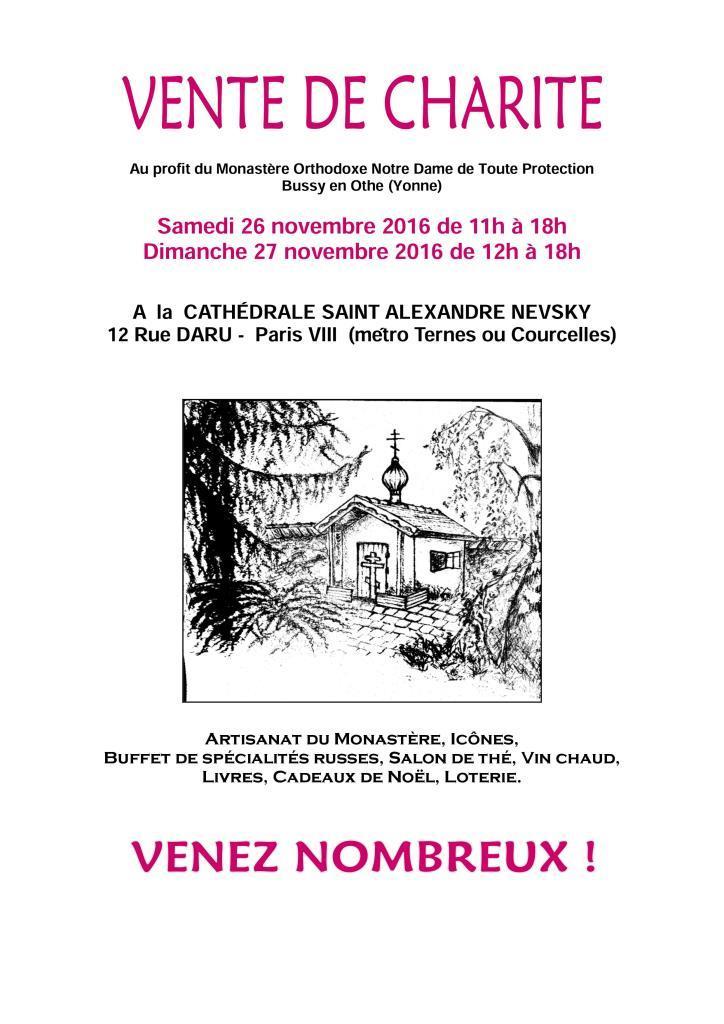 Paris : une vente de charité au profit du monastère de Bussy en Othe les 26 et 27 novembre