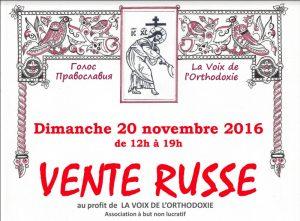 Vente au profit de l'association «Voix de l'orthodoxie» – 20 novembre