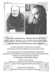 Une conférence à Paris le 5 février sur Mère Marie Skobtsov et sur le père Alexandre Men