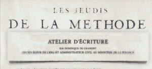 Atelier d'écriture -«Les jeudis de la Méthode»