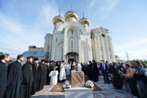 Le patriarche Cyrille a béni la première pierre de la nouvelle école Saint-Vladimir de Bichkek