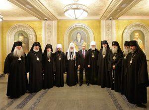 Rencontre du président Poutine avec le patriarche Cyrille et les hiérarques de l'Église russe hors-frontières au séminaire Sretensky de Moscou