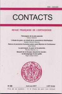 Un volume de la revue de théologie orthodoxe Contacts sur le témoignage de l'orthodoxie