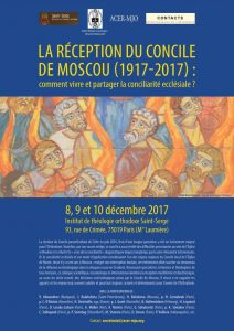 Un colloque en décembre à Paris sur le thème: «La réception du Concile de Moscou (1917-2017) : comment vivre et partager la conciliarité ecclésiale ?»