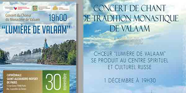 Deux concerts de chant de la tradition monastique de Valaam à Paris