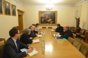 Le vice-président du DREE a reçu le coordinateur du groupe de travail de l'OSCE en charge des questions humanitaires dans le cadre du groupe de contact trilatéral de Minsk
