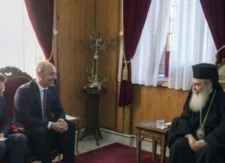 Andry Parouby, président du parlement ukrainien, a été reçu par le patriarche de Jérusalem Théophile III