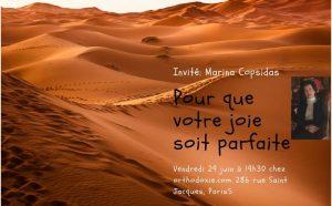 Marina Copsidas : «Que votre joie soit parfaite»