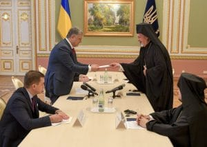 Le métropolite Emmanuel de France (Patriarcat œcuménique) a rencontré le président ukrainien Porochenko