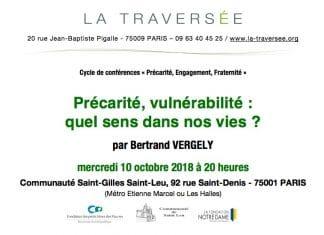 Bertrand Vergely : «Précarité, vulnérabilité : quel sens dans nos vies ?» – 10 octobre 2018