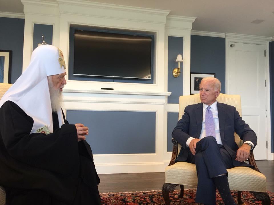 L'ancien vice-président américain Joe Biden a rencontré le « patriarche » Philarète et a exprimé son soutien à la création d'une Église orthodoxe autocéphale en Ukraine