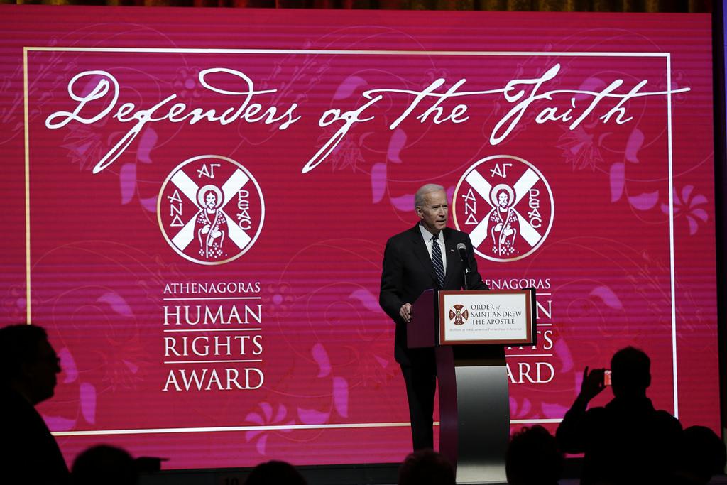 L'ancien vice-président américain Joe Biden s'est exprimé lors du rassemblement des Archontes à New York