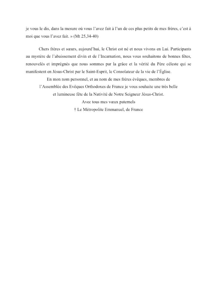 Message du Mgr Emmanuel, Noël 2018