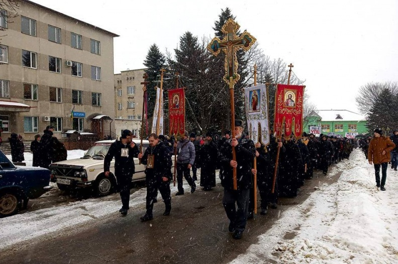 A procession to protest against churches belonging to the Ukrainian Orthodox Church being seized