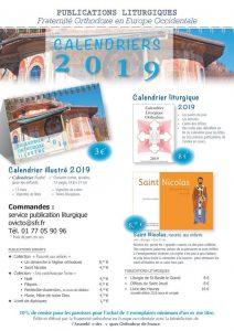Deux calendriers pour l'année 2019 ont été publiés par la Fraternité orthodoxe