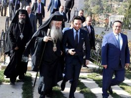 Le prince héritier Hussein ben Abdallah en visite du monastère de la Mère de Dieu Source vivifiante en Jordanie