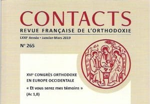Un volume de Contacts dédié aux Actes du 16e Congrès orthodoxe d'Europe occidentale