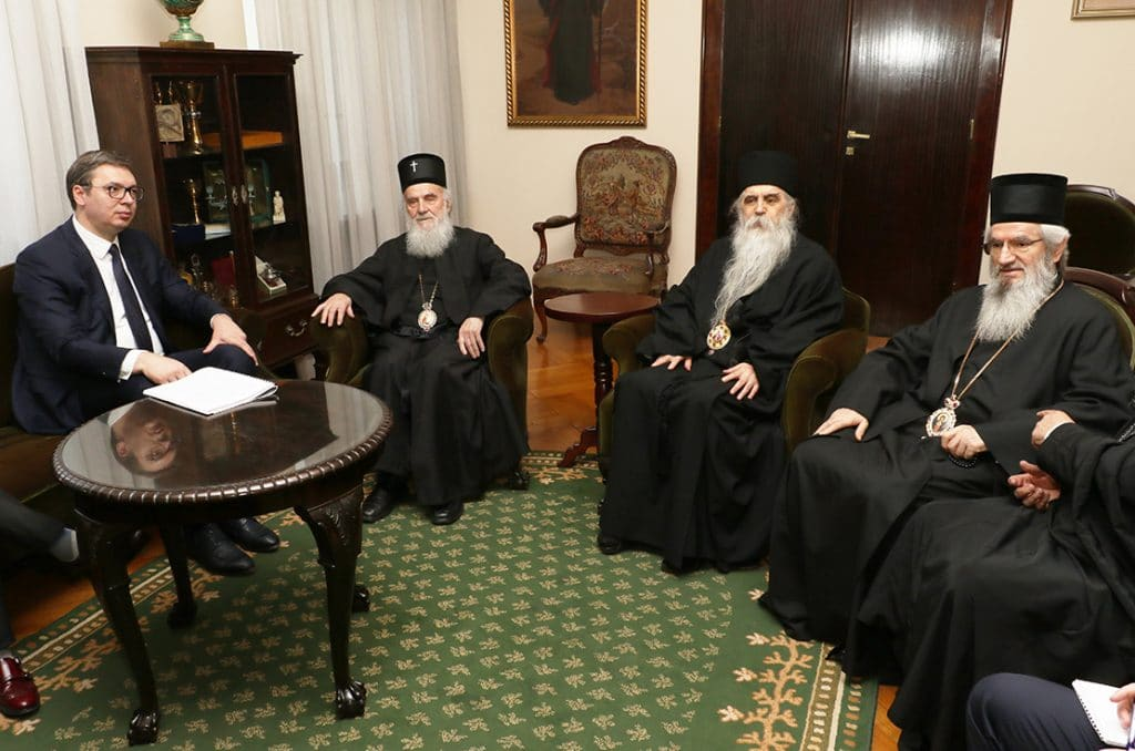 Patriarch Irinej of Serbia received the Serbian head of State and several ministers