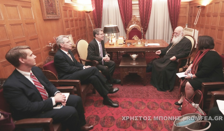 US Ambassador Samuel Brownback met with Archbishop Ieronymos of Athens
