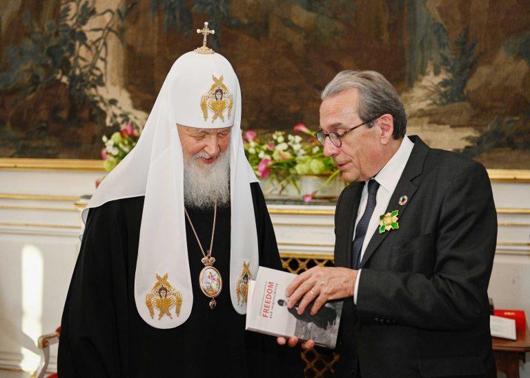 Rencontre du patriarche de Moscou Cyrille et du maire de Strasbourg, Roland Ries
