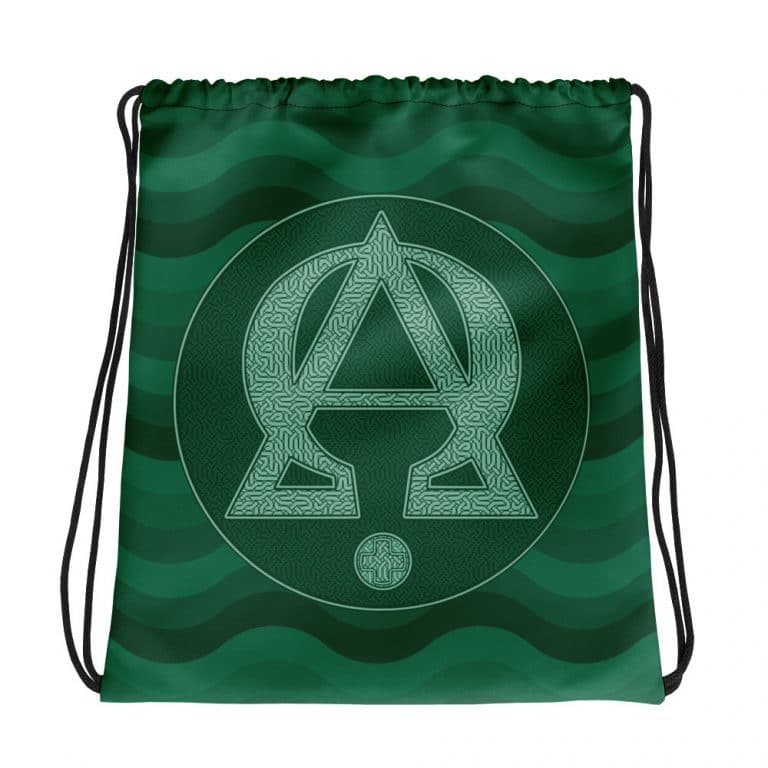 Privé : Alpha and Omega Green Version Drawstring bag