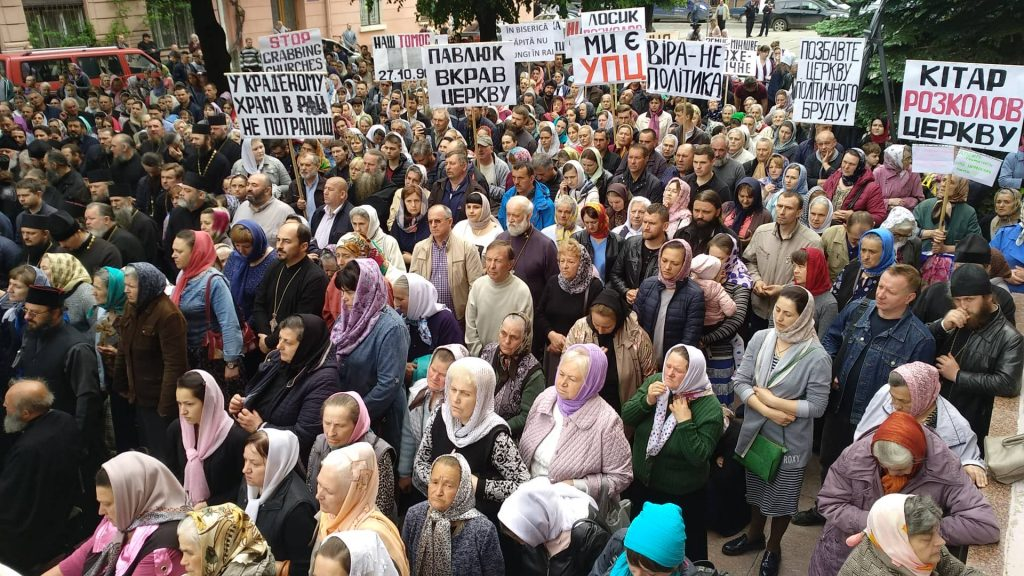 Thousands of faithful protested against their churches being taken over by the new autocephalous Church of Ukraine