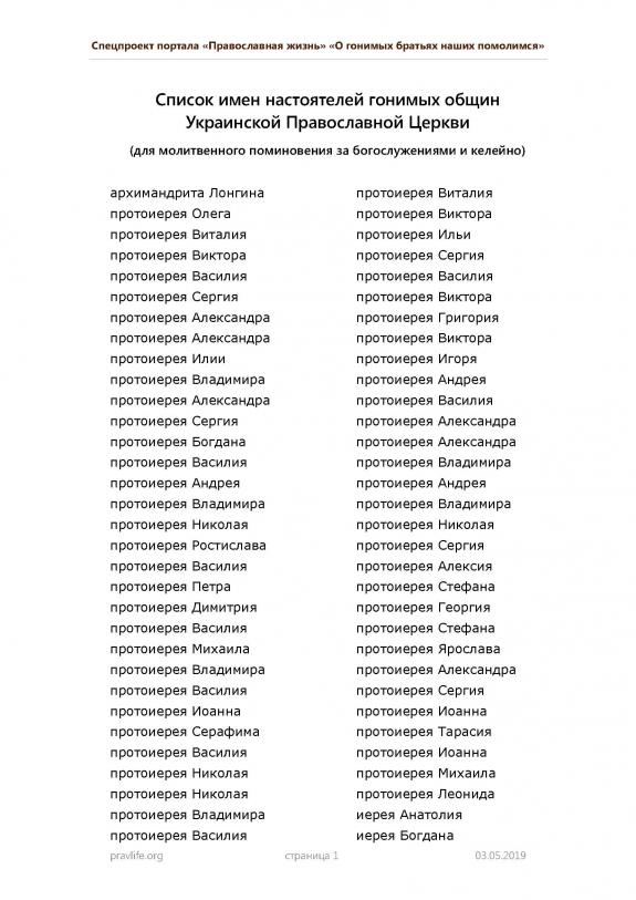 The Orthodox Church of Ukraine is publishing the list of its persecuted priests, for their commemoration in prayer
