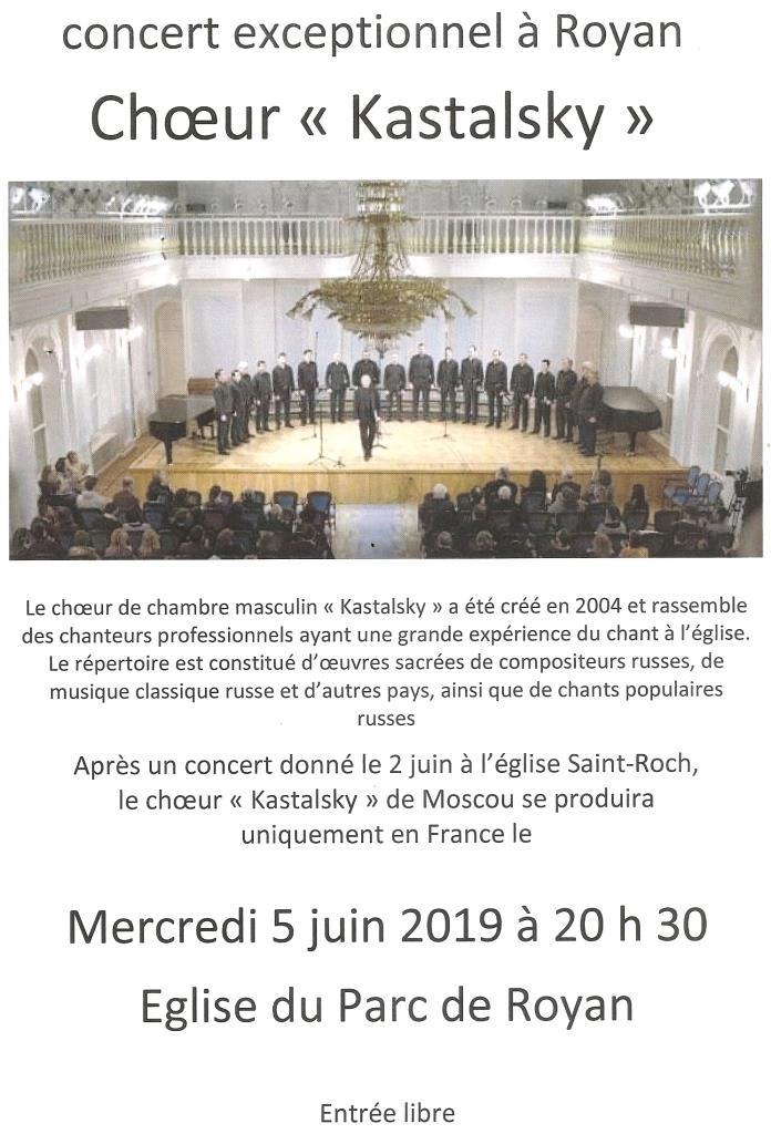Un concert du chœur Kastalsky à Royan le 5 juin
