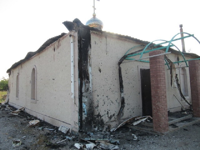During the night of July 5 to 6, an incendiary projectile struck the roof of a church in the Donbass