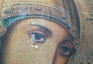 An icon of the Theotokos is exuding fragrant oil in the Lviv region (Ukraine)